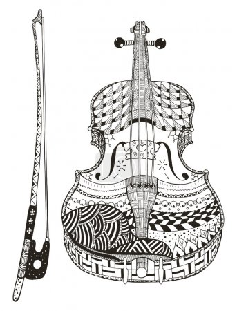 Violin with bow. Zentangle stylized. Pattern. Vector illustration . Freehand pencil. Hand drawn.