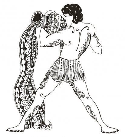 Zodiac sign - Aquarius. Young man with large amphora. Water outpoured. Vector illustration. Zentangle stylized. Horoscope. Pattern. Hand drawn. Freehand pencil.