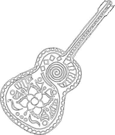 Artistically hand drawn, zentangle stylized guitar vector. Zentangle stylized. Zen art.