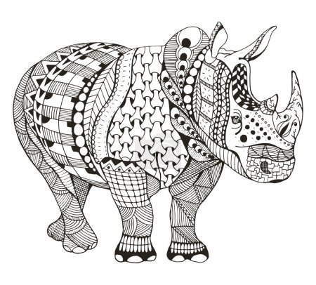 Rhino zentangle stylized, vector, illustration, freehand pencil, doodle, black and white, pattern, hand drawn.