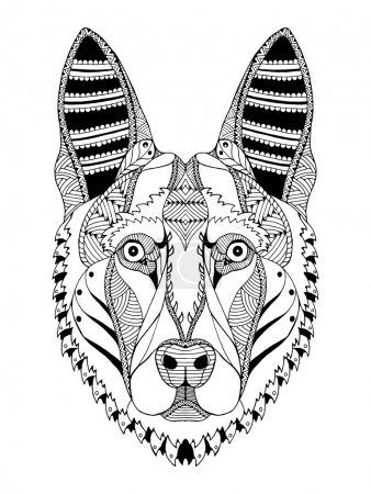 German shepherd dog head zentangle stylized, vector, illustration, freehand pencil, hand drawn, pattern. Zen art. Ornate vector. Lace.
