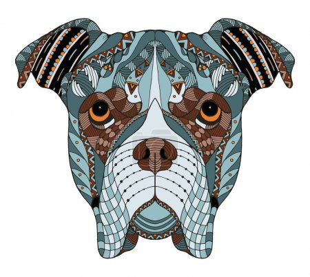 Boxer dog head zentangle stylized, vector, illustration, freehand pencil, hand drawn, pattern. Zen art. Ornate vector. Lace. Color.