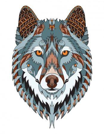 Illustration pour Tête de loup gris zentangle stylisé, vecteur, illustration, crayon à main levée, dessin à la main, motif. L'art zen. Vecteur décoré. Couleur. Impression pour t-shirts . - image libre de droit