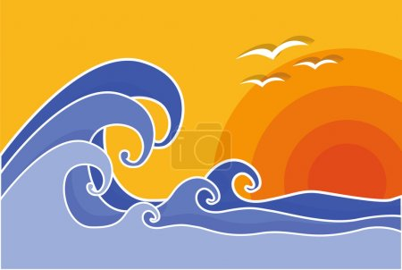 Big waves with sun and seagulls, vector, illustration. Summer.
