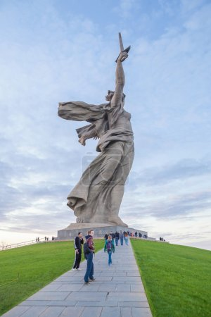 The Motherland Calls monument with tourists