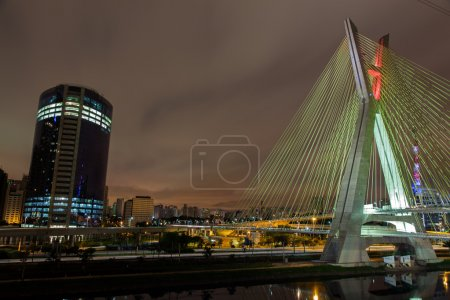 Buildings and cable stayed bridge in Sao Paulo - Brazil - at night