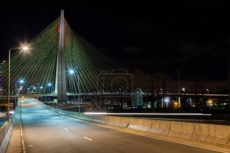 Empty avenue - cable stayed bridge in Sao Paulo - Brazil - at night