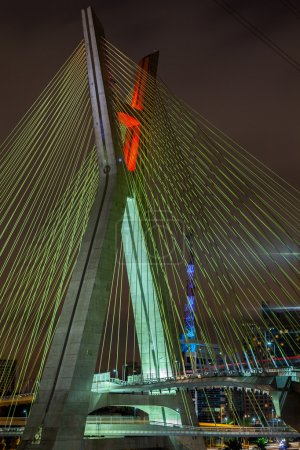 Cable stayed bridge in Sao Paulo - Brazil - at night