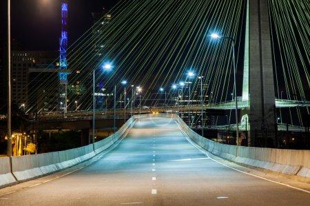 Empty avenue - cable stayed bridge in Sao Paulo - Brazil - at ni