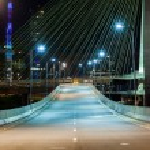 Empty avenue - cable stayed bridge in Sao Paulo - ...