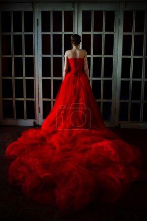 Photo pour Belle fille en robe longue rouge et dans la royale Couronne position près de la porte de cheminée rétro avec vitraux - image libre de droit