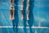 adults legs in sunny day in the swimming pool underwater