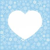 Winter illustration with variety of snowflakes and white heart shape for your text on a colored background