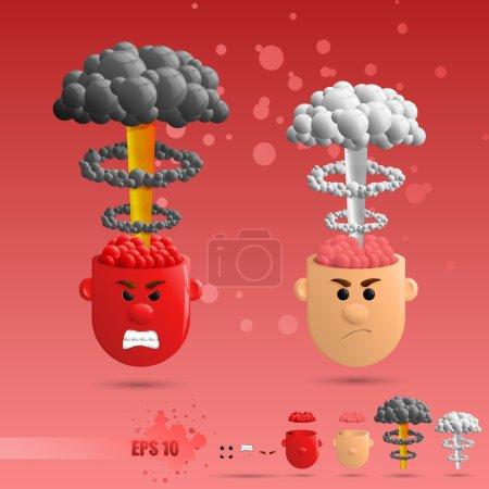 Illustration for 3D set of brain emotions - Royalty Free Image