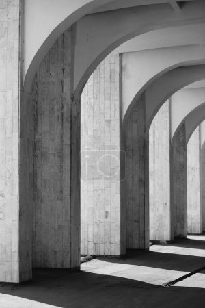 Black and white arches with shadows