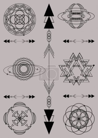 Sacred geometry, vector graphic design elements. Set