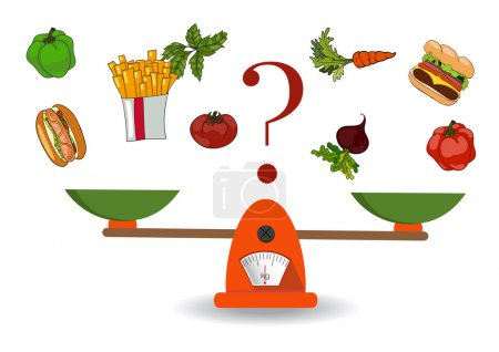 Illustration for The concept of weight loss, healthy lifestyles, diet, proper nutrition. Vegetables and fast food on scales. Vector. Hand drawn - Royalty Free Image