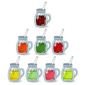 Set of smoothies juices with different flavors The concept of