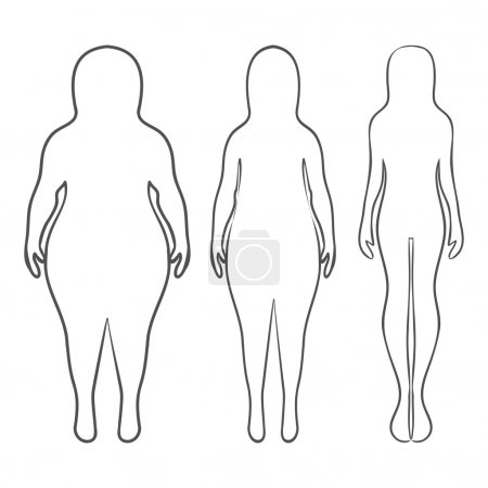 Silhouettes of women thick and thin. Vector illustration, hand d