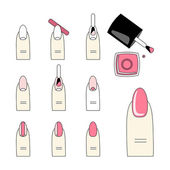 Vector design how to do a manicure correctly Steps of manicure