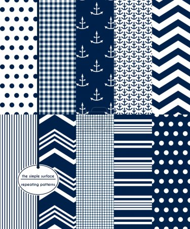 Navy Scrapbook Paper, Nautical, Preppy