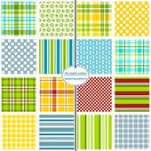 16 seamless patterns for scrapbook paper gift wrap cards backgrounds fabric and more Plaid gingham polka dot and stripe repeating patterns Blue Green Red Yellow Orange Colorful pattern swatch set