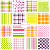 16 seamless patterns for scrapbook paper gift wrap cards backgrounds fabric and more Plaid gingham polka dot and stripe repeating patterns Pink yellow green purple and orange Colorful pattern swatch set