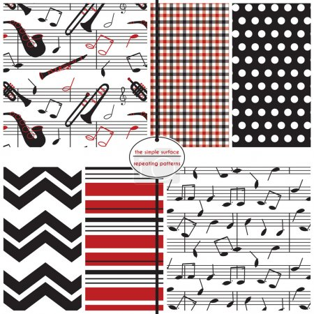 Seamless Patterns, Background Patterns, Music, Musical Instruments, Jazz, Blues, Music Notes