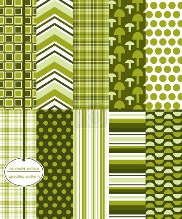Seamless Patterns, Background Patterns,, Mushrooms, Green