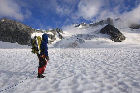 Mountaineer crossing the Wedgemount Glacier in Garibaldi Park.