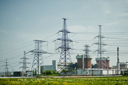 Nuclear Power Plant with high voltage power pylons.