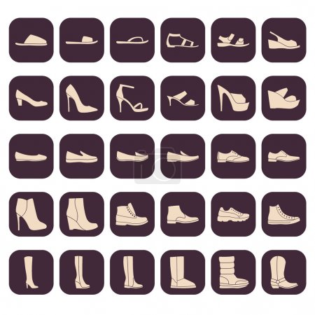 Set of men's and women's shoes icons