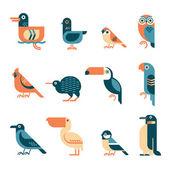 Minimal geometric birds icon set