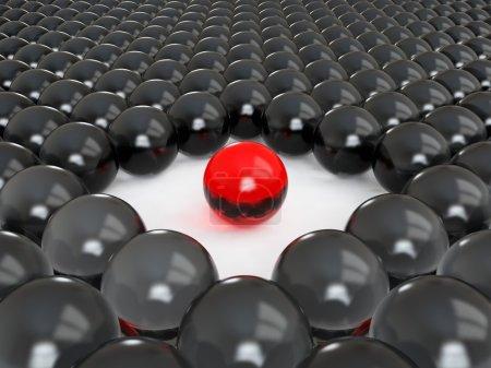 Photo pour 3d rendu d'une balle rouge différente - image libre de droit
