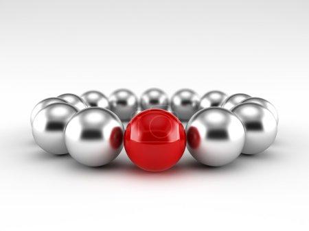 Foto de 3D renderizado de una bola roja diferente - Imagen libre de derechos