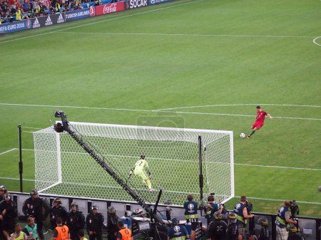 Christiano Ronaldo scores a penalty