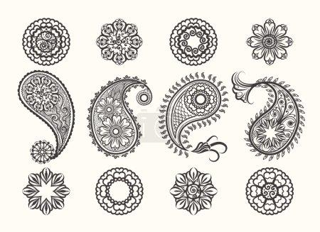 Illustration for Henna tatoo paisley icons set. Mehndi henna high quality ornamental elements. Vector henna mehndi - Royalty Free Image