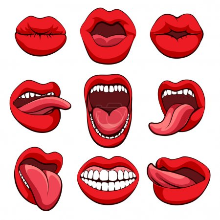 Illustration for Mouths set. Vector mouths expressions or mouths gestures icons on white background - Royalty Free Image