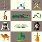 Arabic middle east flat vector icons