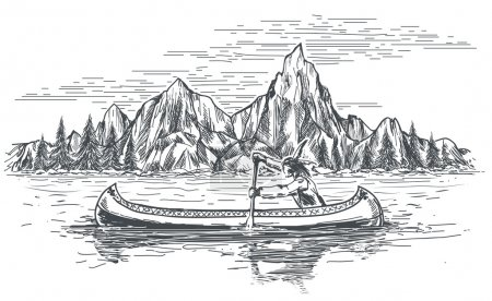 Illustration for Native american rowing indian in canoe boat on mountain landscape. Hand drawn vector illustration - Royalty Free Image