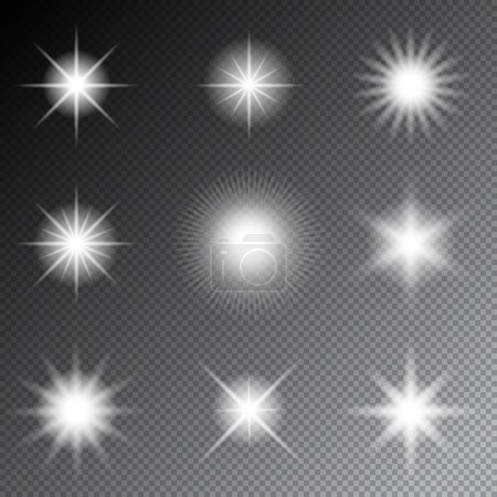 Stars and sparkles vector. Glowing light stars and...