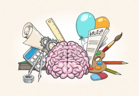 Illustration pour Concept de cerveau gauche et droit. Cerveau humain créativité et compétences analytiques illustration vectorielle dessinée à la main - image libre de droit