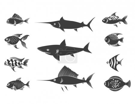 Grey fish silhouettes set