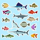 Colorful fish stickers set