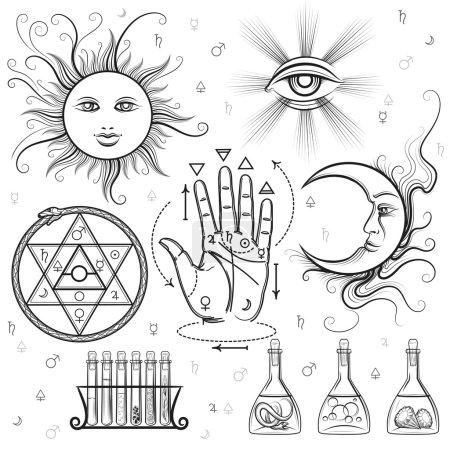 Illustration pour Signes ésotériques. Symboles vectoriels de philosophie et d'alchimie, sciences maçonniques et occultes - image libre de droit