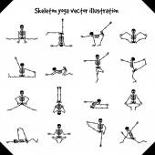 Skeletons in yoga poses isolated on white background vector illustration