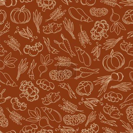 Illustration for Harvest festival seamless pattern with line vegetables vector illustration - Royalty Free Image
