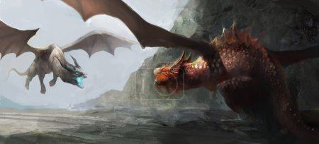 two dragons fighting over territory