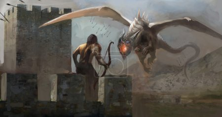 Archer fighting dragon on castle