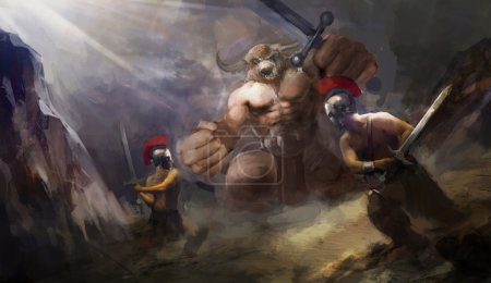 angry Minotaur fighting Greek warriors